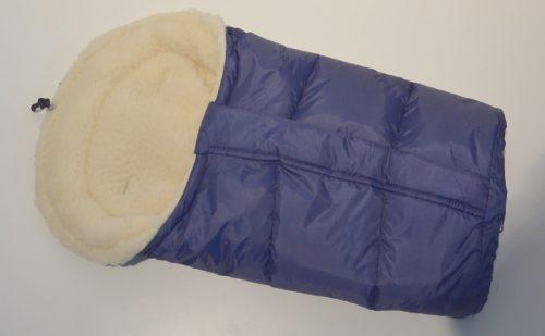 Śpiworek do wózka z owczą wełną, przedłużany 90-110 cm kolor Granatowy