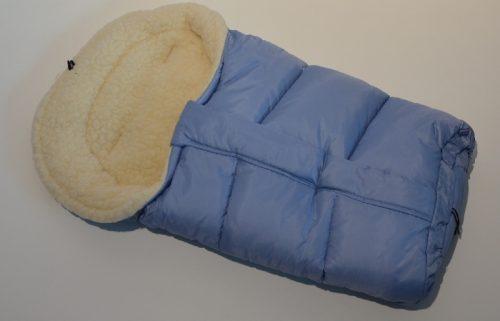 Śpiworek do wózka z owczą wełną, przedłużany 90-110 cm kolor Niebieski