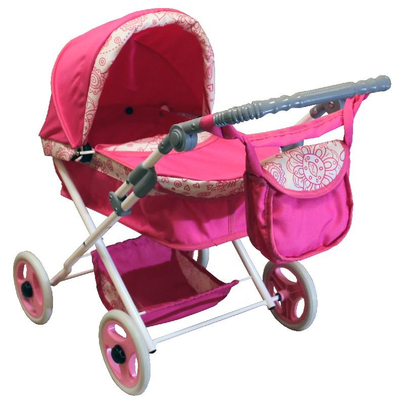 Głęboki wózek lalkowy średni WL1 różowy + torba do wózka