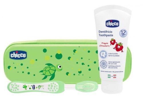 Chicco zestaw pasta z fluorem i szczotka do zębów+ etui zielony 12 m+