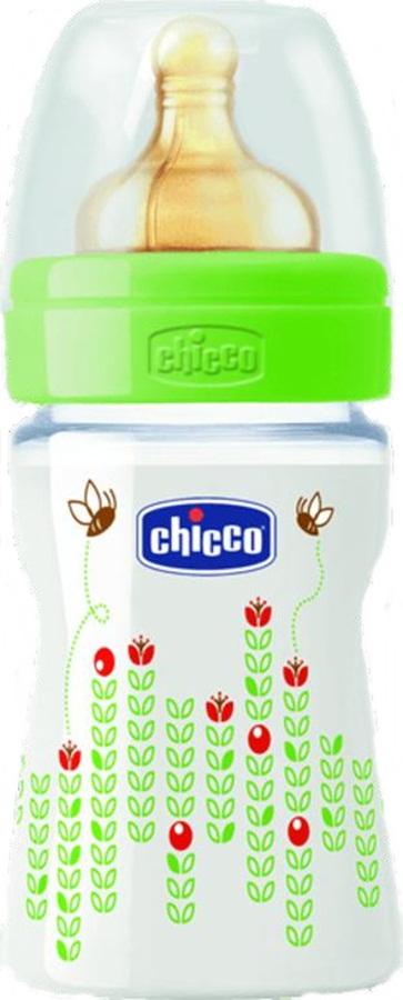 Butelka Chicco Weelbeing 150 ml z lateksowym smoczkiem 0m+ zielona