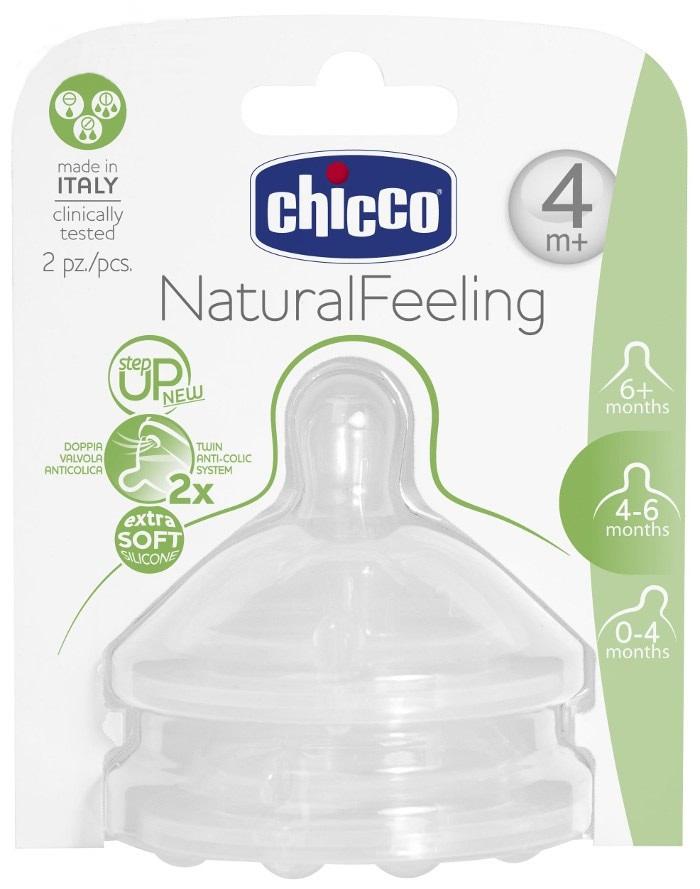 Smoczki silikonowe do butelek Step Up New NaturalFeeling Chicco 4m+ trójprzepływowy 2 szt.