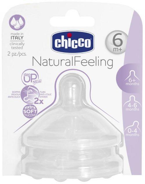 Smoczki silikonowe do butelek Step Up New NaturalFeeling Chicco 6m+ szybki przepływ 2 szt.