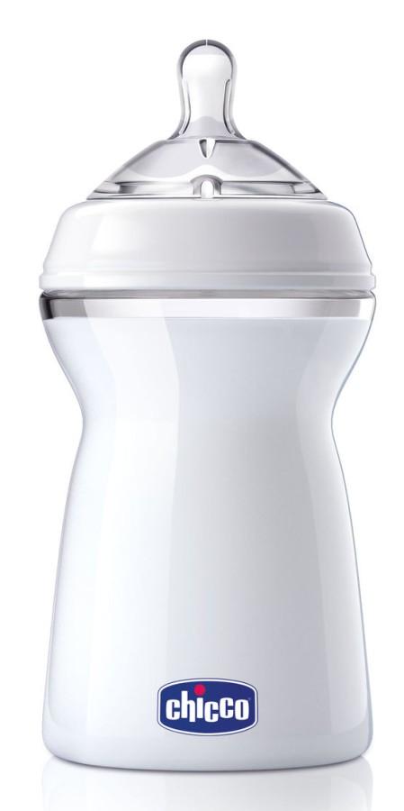 Chicco butelka plastikowa naturalfeeling 330 ml smoczek silikonowy, przepływ szybki 6+ biała