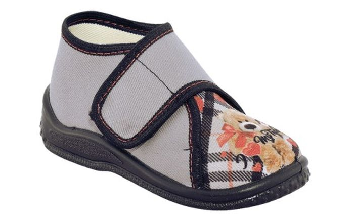 Zetpol Amanda szara domowe buty na rzep 26