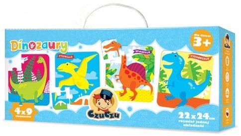 Puzle 4w1 dla dzieci 36 elementów dinozaury CzuCzu
