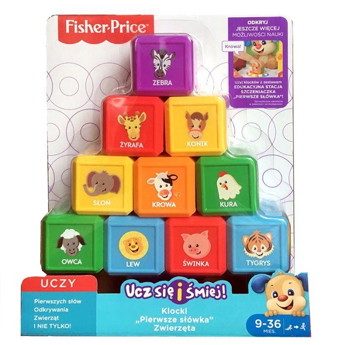 """Fisher Price klocki """"Pierwsze słówka"""" zwierzęta FJG34 FJN90"""