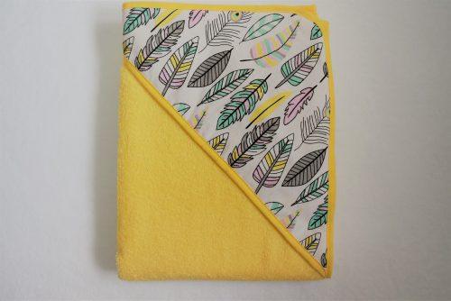 Okrycie kąpielowe frotte 100x100, Duet Baby Żółty piórka