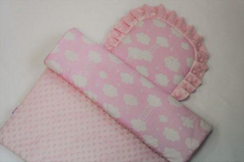Komplet pościeli do wózka dziecięcego Minky  Duet baby Różowe chmurki