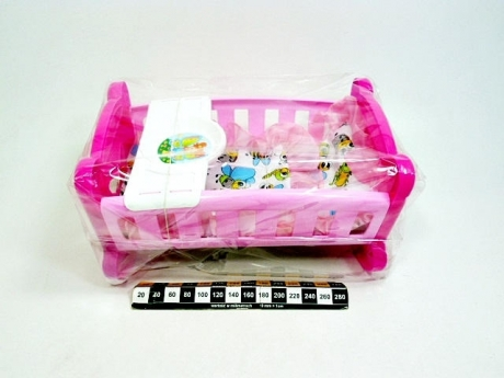Kołyska dla lalki Motylek. Plastikowa kołyska z kołderką i podusią.