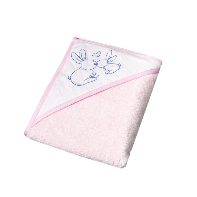 Okrycie kąpielowe 100% bawełna króliczek 80x80 Tega Baby Różowy