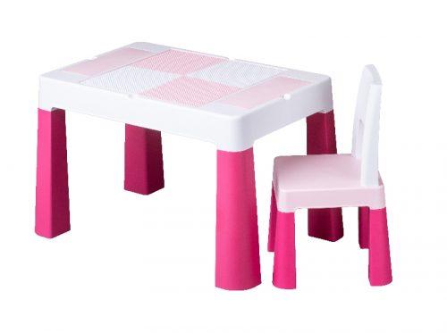 Stolik z krzesełkiem dla dziecka nauka zabawa budowanie  Tega Baby różowy
