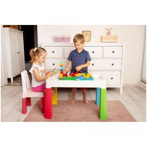 Stolik z krzesełkiem dla dziecka nauka zabawa budowanie  Tega Baby szary