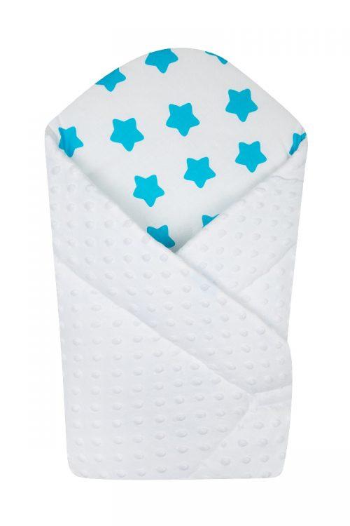 Rożek niemowlęcy z usztywnieniem z gąbki Minky Duet baby Biały gwiazdki