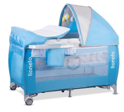 Łóżeczko turystyczne dla dziecka - kojec 125x65 Sven Plus Lionelo niebieskie