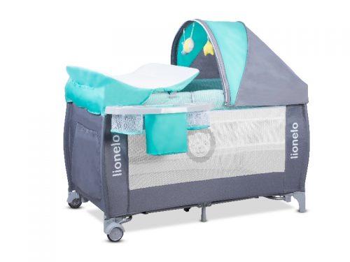 Łóżeczko turystyczne dla dziecka - kojec 125x65 Sven Plus Lionelo turkus