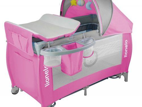 Łóżeczko turystyczne dla dziecka - kojec 125x65 Sven Plus Lionelo Pink Grey
