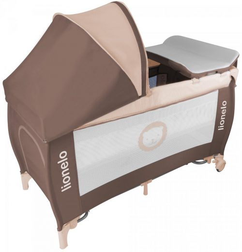 Łóżeczko turystyczne dla dziecka - kojec 125x65 Sven Plus Lionelo Brown Beige
