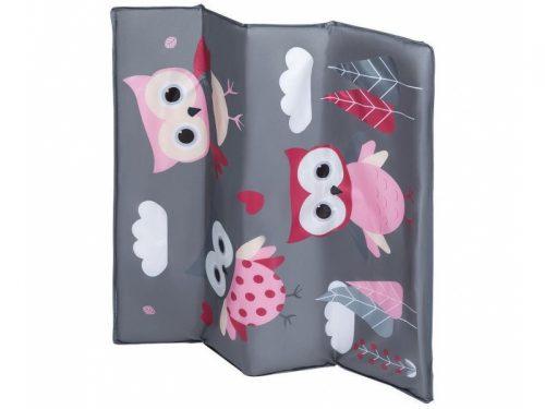 Kwadratowy kojec dla dziecka - łóżeczko turystyczne Stella Pink Owls Lionelo