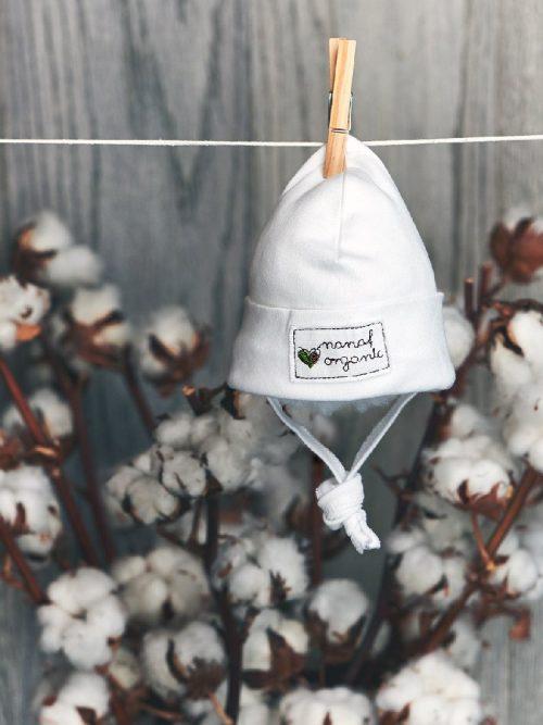 Nanaf Organic Czapka niemowlęca zawijana 74 Biały