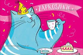 Zaproszenie n aurodziny kot z tortem
