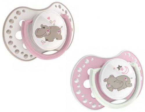 Silikonowe smoczki dynamiczne do uspokajania Lovi Night & Day 0-3m 'aktywne ssanie' 2 szt. bez BPA Girl Hippo