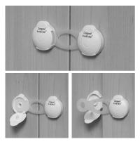 Zabezpieczenie wielofunkcyjne krótkie Canpol Babies - do wszystkich rodzajów drzwiczek kolor Biały