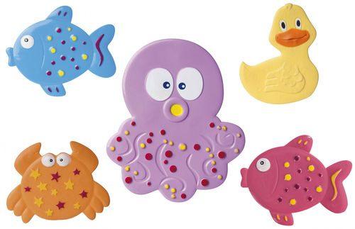 Mini maty kąpielowe Canpol Babies Kolorowy Ocean w kształcie zwierzątek - 5 szt.
