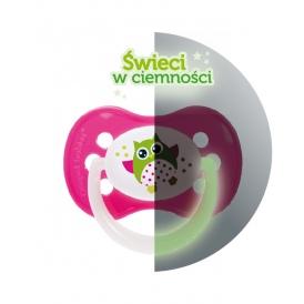 Symetryczny silikonowy smoczek uspokajający Canpol Babies z kolekcji Sówki 18m+ Różowy