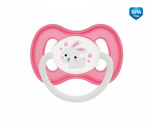 Smoczek silikonowy symetryczny Bunny Company 6-18m Canpol Babies różowy
