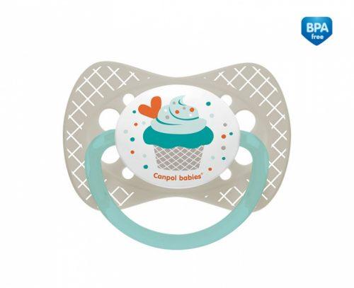 Silikonowy smoczek do uspokajania symetryczny Canpol Babies Cupcake 18m+ kolor Szary