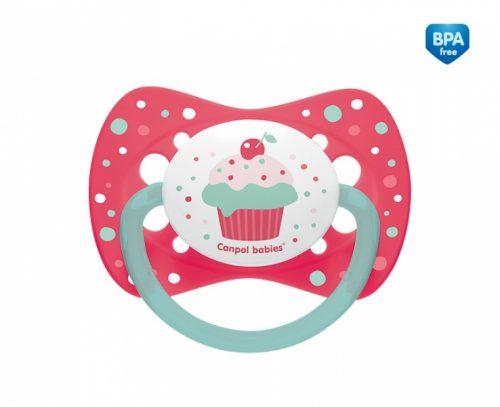 Silikonowy smoczek do uspokajania symetryczny Canpol Babies Cupcake 18m+ kolor Różowy