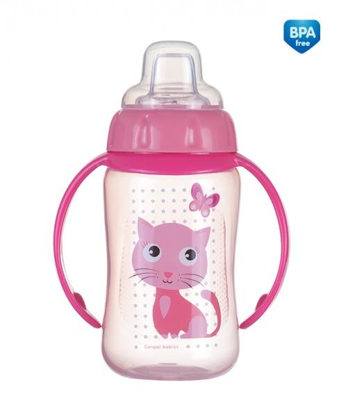 Kubek niekapek Canpol Babies z uchwytem i silikonowym ustnikiem 320 ml Różowy