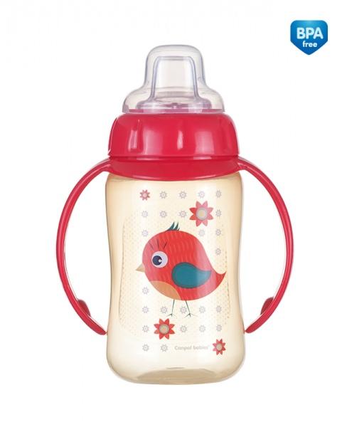 Kubek niekapek Canpol Babies z uchwytem i silikonowym ustnikiem 320 ml kolor Czerwony