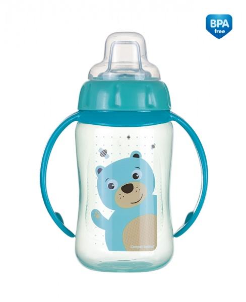 Kubek niekapek Canpol Babies z uchwytem i silikonowym ustnikiem 320 ml kolor Turkusowy