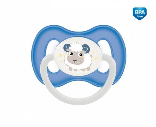 Smoczek okągły lateksowy świeci nocą Bunny Company6-18m Canpol Babies niebieski