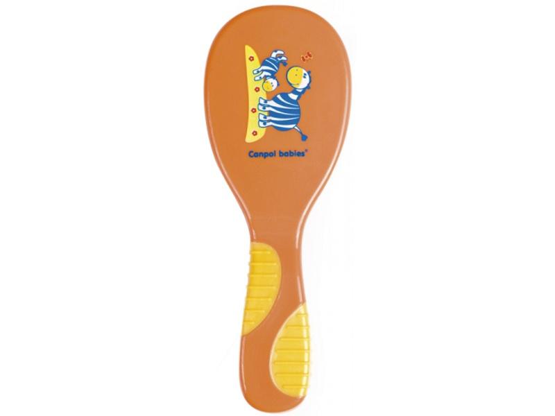Szczotka do włosów dla dzieci z miękkiego sztucznego włosia Canpol Babies Zoo + grzebyk Pomarańczowy