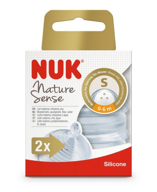 Smoczek do butelki NUK Nature Sense, silikon, 6-18 mies., S do płynów 2 szt./pud.