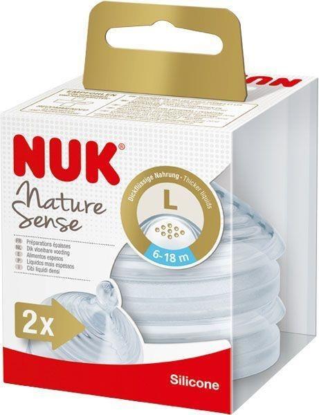 Smoczek do butelki NUK Nature Sense, silikon, 6-18 mies., L do papek 2 szt.