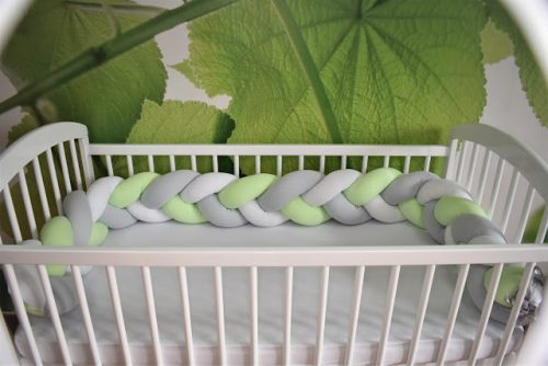 Warkocz ochraniacz do łóżeczka jersey biały szary zielony