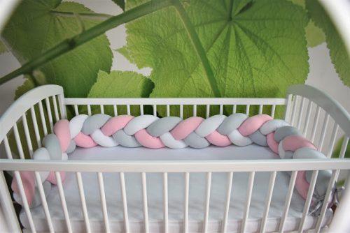 Warkocz ochraniacz do łóżeczka jersey biały szary róż