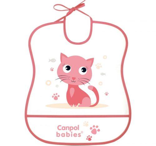 Śliniak plastikowy z kieszonką miękki Canpol Babies kolor  Różowy kotek