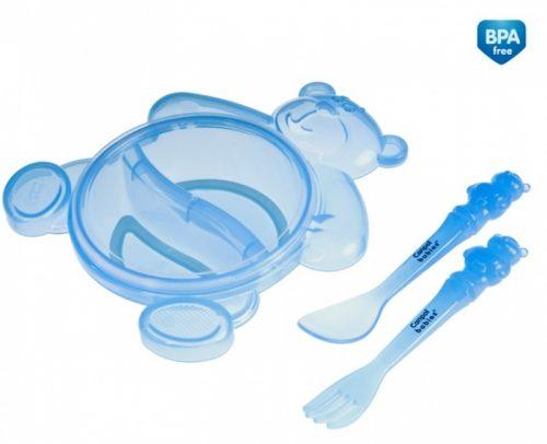 Zestaw stołowy dla dziecka - dwudzielna miska Miś ze sztućcami Canpol Babies Niebieski