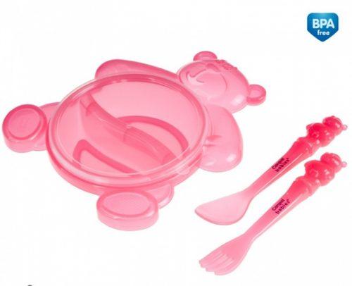 Zestaw stołowy dla dziecka - dwudzielna miska Miś ze sztućcami Canpol Babies Różowy