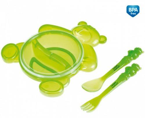 Zestaw stołowy dla dziecka - dwudzielna miska Miś ze sztućcami Canpol Babies Zielony
