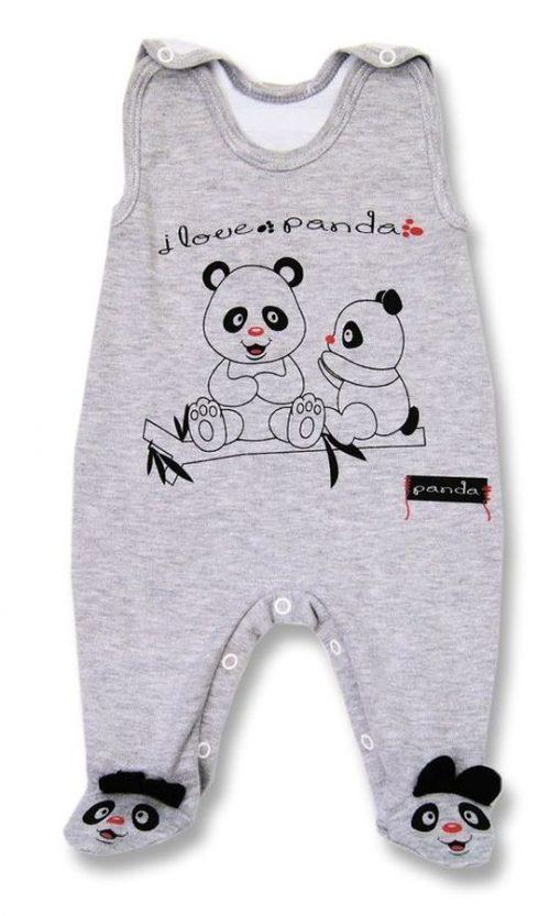 Śpioszki bawełniane Lafel Panda 74 Szary
