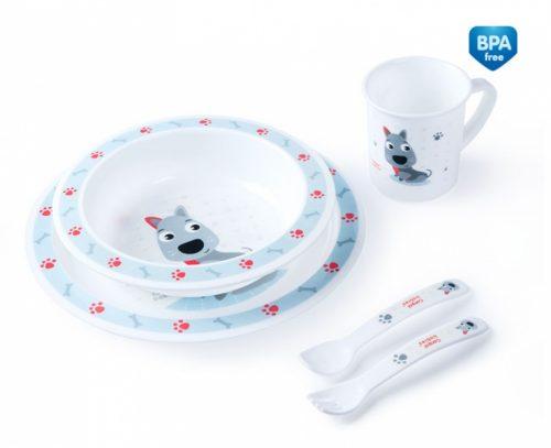 Plastikowy zestaw stołowy Canpol Babies - talerzyk, miseczka, kubek, sztućce Blue