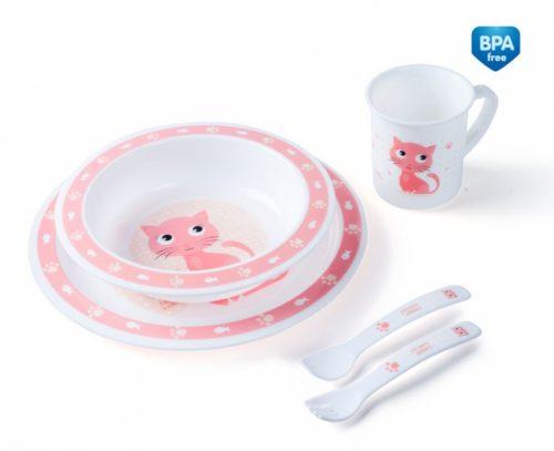 Plastikowy zestaw stołowy Canpol Babies - talerzyk, miseczka, kubek, sztućce Pink