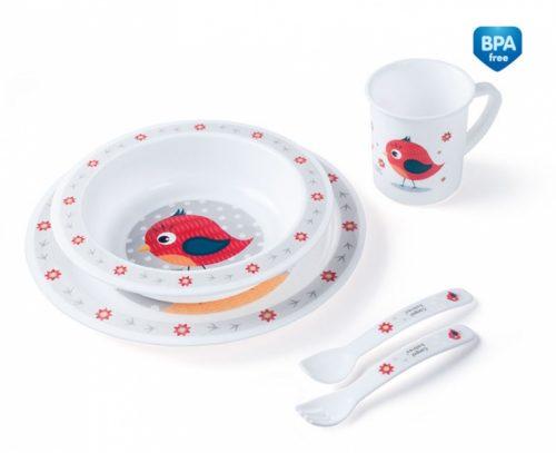 Plastikowy zestaw stołowy Canpol Babies - talerzyk, miseczka, kubek, sztućce Red