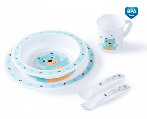 Plastikowy zestaw stołowy Canpol Babies - talerzyk, miseczka, kubek, sztućce Turkus